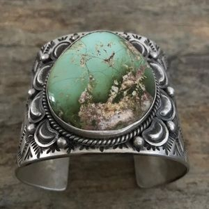 Jewelry - Sterling Silver Royston Turquoise Cuff Bracelet.